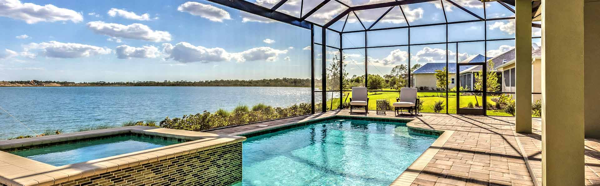 Screened-In Pool overlooking a lake